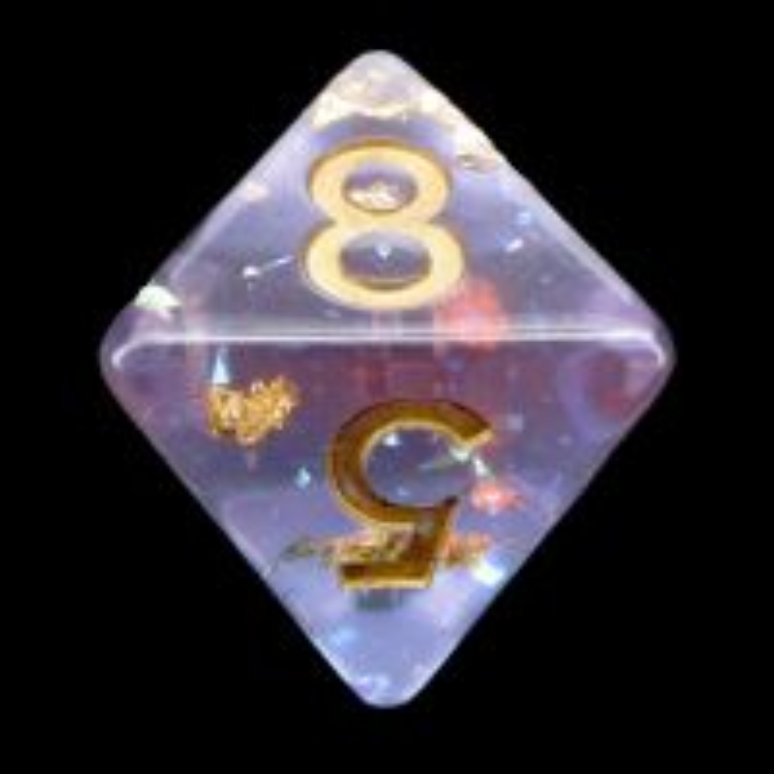TDSO Confetti Mica Pink & Blue Glitter D8 Dice