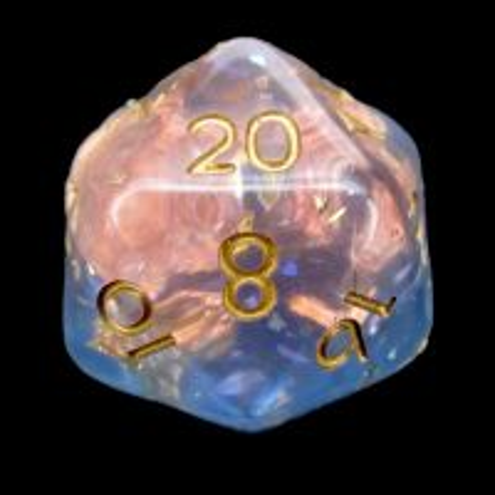 TDSO Confetti Mica Pink & Blue Glitter D20 Dice