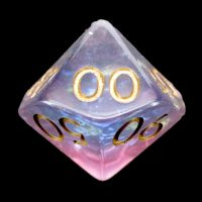 TDSO Confetti Mica Pink & Blue Glitter Percentile Dice