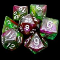 TDSO Multi Glitter Green Pink & Purple 7 Dice Polyset