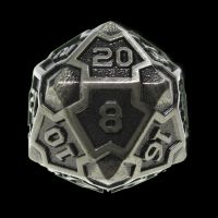 TDSO Metal Arcanist Antique Silver D20 Dice
