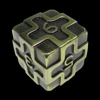 TDSO Metal Arcanist Antique Gold D6 Dice