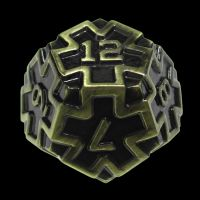 TDSO Metal Arcanist Antique Gold D12 Dice