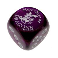 Chessex Gemini Purple Here There Be Dragons D6 Spot Dice