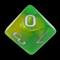 TDSO Duel Green & Yellow With White D10 Dice