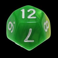 TDSO Duel Green & Yellow With White D12 Dice