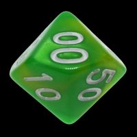 TDSO Duel Green & Yellow With White Percentile Dice