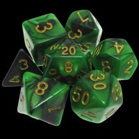 TDSO Duel Black & Green 7 Dice Polyset