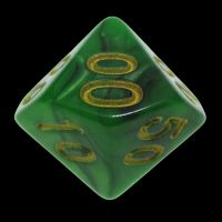 TDSO Duel Black & Green Percentile Dice