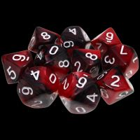 TDSO Duel Black & Red With White 10 x D10 Dice Set