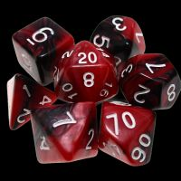 TDSO Duel Black & Red With White 7 Dice Polyset