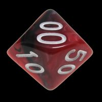 TDSO Duel Black & Red With White Percentile Dice