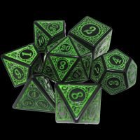 TDSO Magic Burst Black & Green 7 Dice Polyset