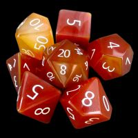 TDSO Carnelian with Engraved Numbers 16mm Precious Gem 7 Dice Polyset