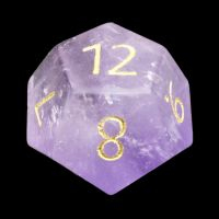 TDSO Amethyst with Engraved Numbers 16mm Precious Gem D12 Dice