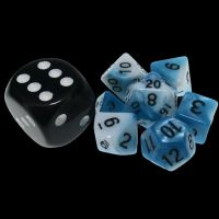 TDSO Duel Teal & White MINI 10mm 7 Dice Polyset