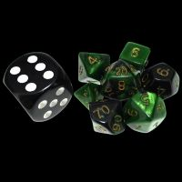 TDSO Duel Black & Green MINI 10mm 7 Dice Polyset