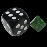 TDSO Duel Black & Green MINI 10mm D10 Dice