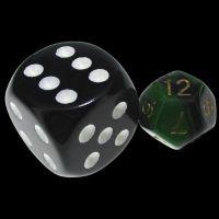 TDSO Duel Black & Green MINI 10mm D12 Dice
