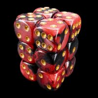 TDSO Duel Black & Red With White 12 x D6 Dice Set
