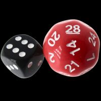 Impact Opaque Red & White D28 Dice