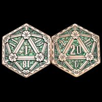 TDSO Metal Crit & Miss Ancient Copper & Green Enamel D2 Dice Coin
