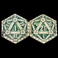 TDSO Metal Crit & Miss Ancient Bronze & Green Enamel D2 Dice Coin