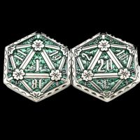 TDSO Metal Crit & Miss Ancient Silver & Green Enamel D2 Dice Coin