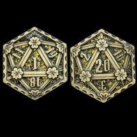 TDSO Metal Crit & Miss Ancient Bronze & Golden Green Glitter Enamel D2 Dice Coin