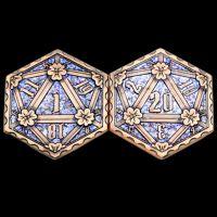 TDSO Metal Crit & Miss Ancient Copper & Blue Glitter Enamel D2 Dice Coin
