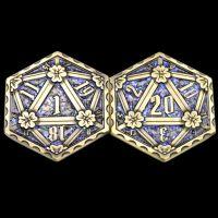 TDSO Metal Crit & Miss Ancient Bronze & Blue Glitter Enamel D2 Dice Coin