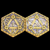 TDSO Metal Crit & Miss Ancient Gold & Blue Glitter Enamel D2 Dice Coin