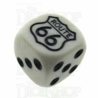 Koplow White & Black Route 66 Logo D6 Spot Dice