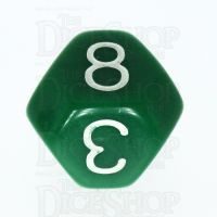 Tessellations Opaque Green & White Truncated Octahedra D8 Dice