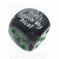 Chessex Gemini Black & Grey Don't Touch My Dice! Logo D6 Spot Dice