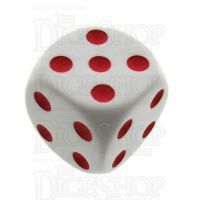 Koplow Opaque White & Red Average D6 Spot Dice