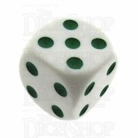 Koplow Opaque White & Green Average D6 Spot Dice