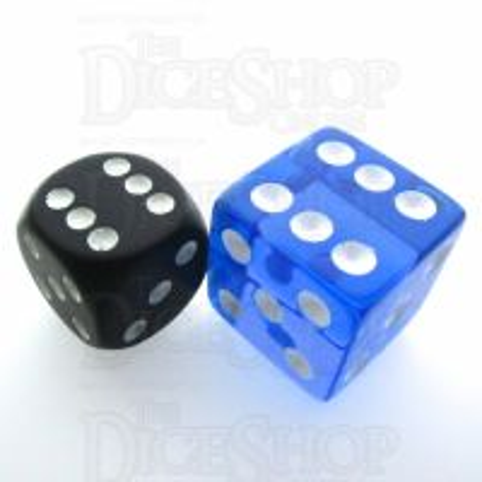 Koplow Transparent Blue Square Cornered 19mm D6 Spot Dice