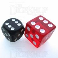 Koplow Transparent Red Square Cornered 19mm D6 Spot Dice