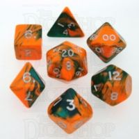 D&G Toxic Chemical Orange & Green 7 Dice Polyset