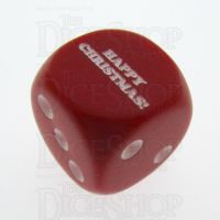 Chessex Opaque Red & White HAPPY CHRISTMAS! Logo D6 Spot Dice