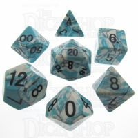 TDSO Turquoise Blue & White Synthetic 16mm Precious Gem 7 Dice Polyset