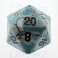 TDSO Turquoise Blue & White Synthetic 16mm Precious Gem D20 Dice