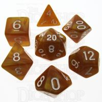 TDSO Pearl Golden & White 7 Dice Polyset