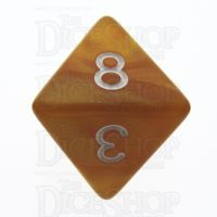 TDSO Pearl Golden & White D8 Dice