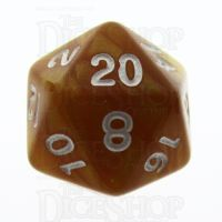 TDSO Pearl Golden & White D20 Dice