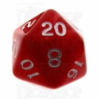 TDSO Pearl Red & White D20 Dice