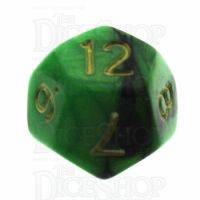 TDSO Duel Black & Green D12 Dice