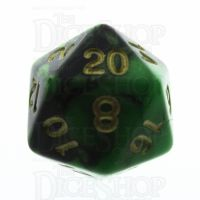 TDSO Duel Black & Green D20 Dice