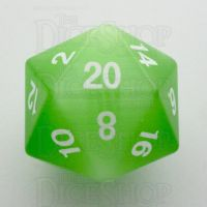 TDSO Cats Eye Light Green 16mm Precious Gem D20 Dice